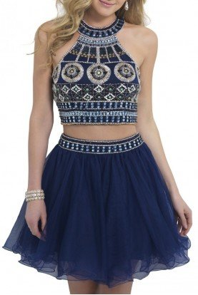 Blush Prom Navy Two Piece Geometric Beaded Dress 10077