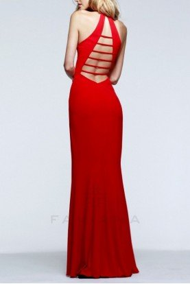 Red V-Neck Evening Gown 7540