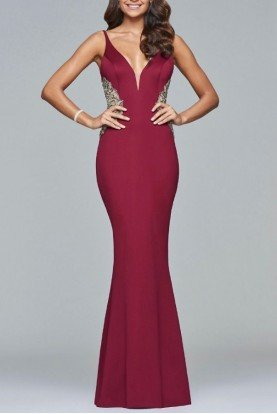Red Trumpet Gown -Wine S7916-W