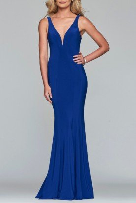 Blue Fitted V-Neck Gown 10223