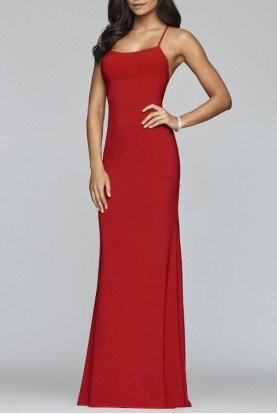 Red Fitted Jersey Gown S10205