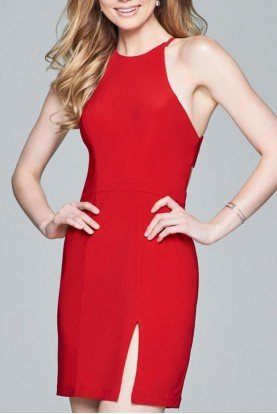 Red Fitted Jersey Dress 8053