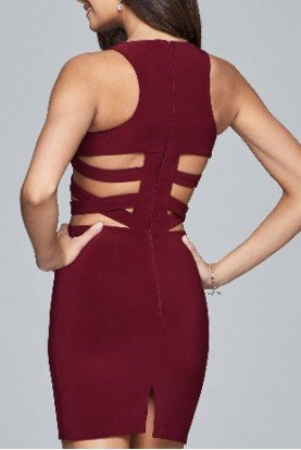 Red Cut Out Cocktail Dress-W 7853-W