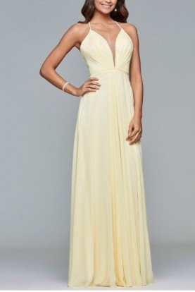Buttercream Chiffon V-Neck Evening Gown 7747