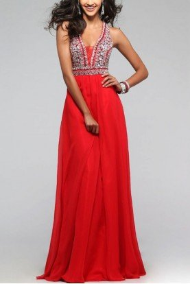 Red Beaded V-neck Gown S7500