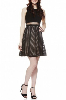 Black Illusion A Line Cocktail Dress A17193