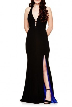 Black Purple Open Back Dress With Slit A17349