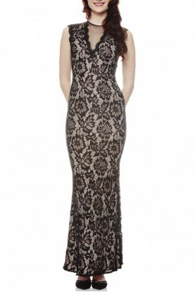 Betsy and Adam  Black Nude Floral Illusion Gown A16568