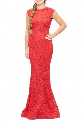 Red Lace Floral Embroidered Mermaid Gown A17840-R