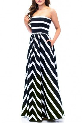 Strapless Striped Empire Ballgown A16261