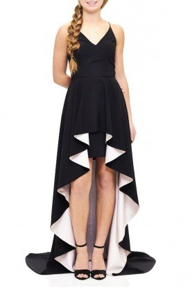 Black Asymmetrical Hi-Low Peplum Gown A17579