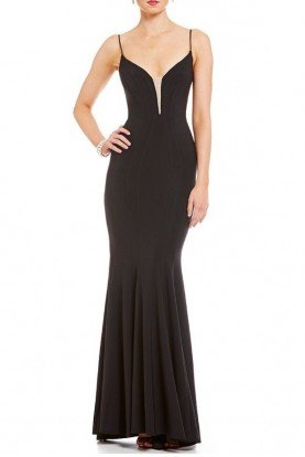 Black Fitted V-Neck MermaidGown A18488