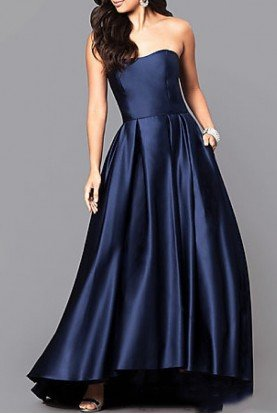Navy Strapless Hi-Low Ball Gown A18224