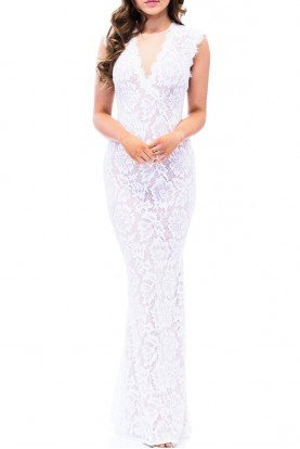 White Illusion Lace V-Neck Gown A16568- W