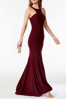 Xscape Wine Halter Neck Mermaid Gown XS9346