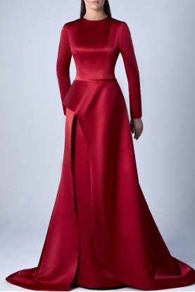 Bordeaux Long Sleeve A Line Gown