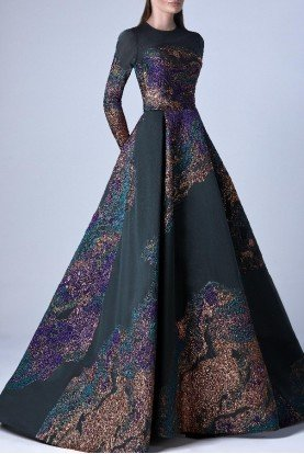 Multicolor Long Sleeve Organza Gown