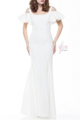 Cold Shoulder Ivory Mermaid Stretch Gown  G777