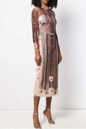 Temperley London Aztec Illusion Teahouse Sleeved Dress  19ATEH53128