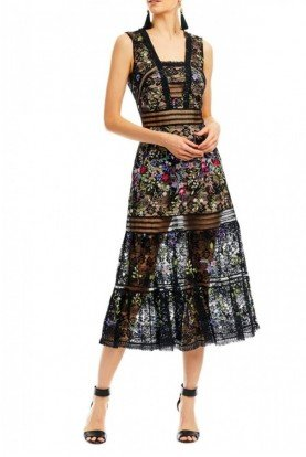 Black Blooming Garden Midi Dress DA10014