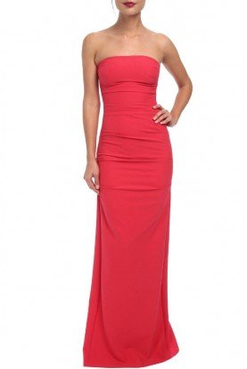 Pink Crepe Strapless Gown BN10038