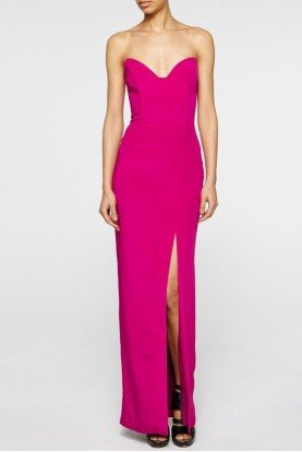 Pink Crepe Pointed Strapless Gown BQ10129
