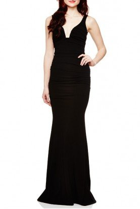 Black Structured Jersey Gown CL10023-Black