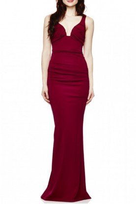 Berry Plunge Jersey Gown CL10023-Berry