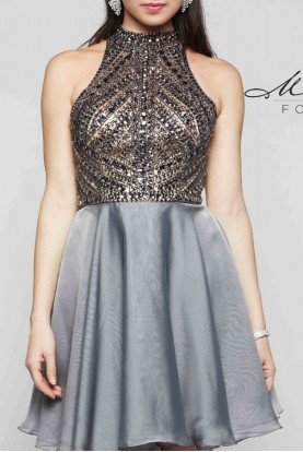 Gunmetal High Neck Beaded Cocktail Dress E2077