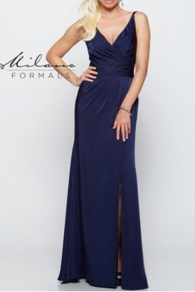 Navy Ruched Bodice Gown E2125