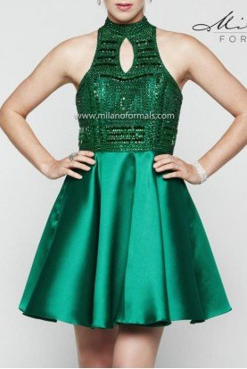 Milano Formals Emerald Beaded A-Line Cocktail Dress E2036