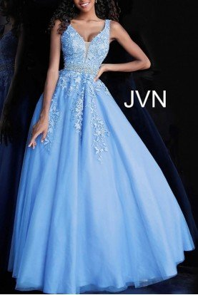 Blue Plunging Neck Embroidered Ball Gown JVN68258