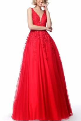 Red Plunging Neck Embroidered Ball Gown VN68258