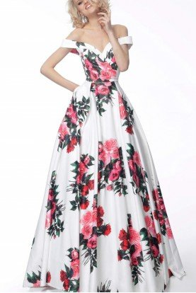 White Floral Off the Shoulder Gown JVN65965
