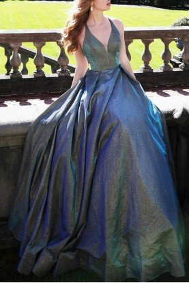 Green Blue Sleeveless Metallic  Ball Gown JVN65851