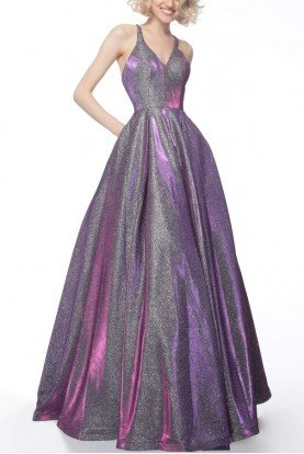 Purple Sleeveless Metallic Ball Gown JVN65851