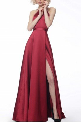 Jovani Red High Slit A-Line Satin Gown 68758