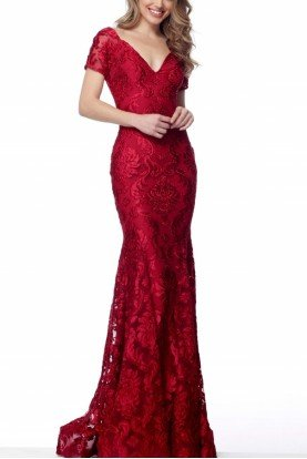 Red Short Sleeve Lace Fitted Gown 68446