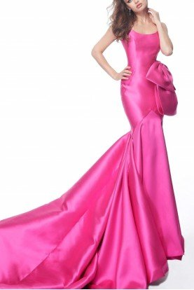 Pink Sleeveless Mikado Mermaid Gown 68330