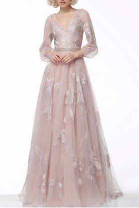 Champagne Long Sleeve V Neck Gown 68056