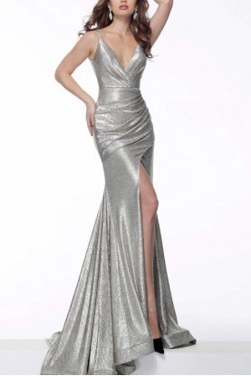 Brown V Neck Front Slit Metallic Gown 67977