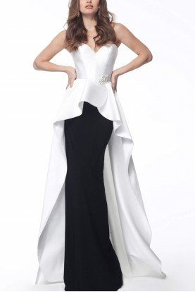 White Black Strapless Sweetheart Neck Gown 67123