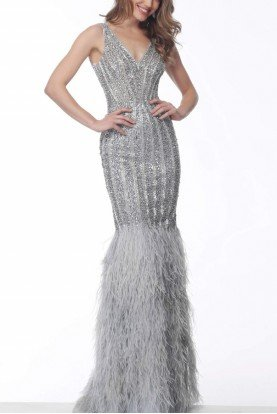 Silver Sleeveless Feather Skirt Gown 66233