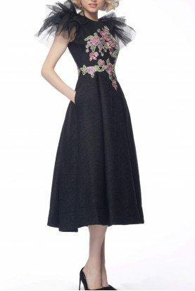 Black Embroidered Midi Dress 66417
