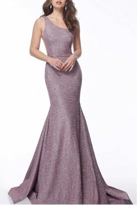 Purple Fitted One Shoulder Evening Gown 67650