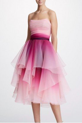 Marchesa Pink Strapless Ombre Cocktail Dress M26911