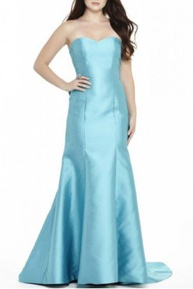 Blue  Strapless Ruffle Gown E70052