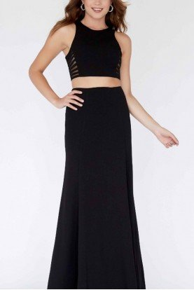 Black Fitted Two Piece Gown E80038