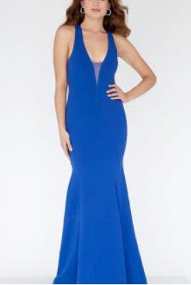 Blue Open Back Gown E80035