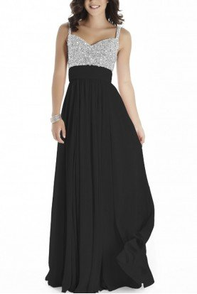 Black Sleeveless Beaded Gown E70019